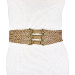 BCBG Brown Braided Faux Leather Stretch Belt